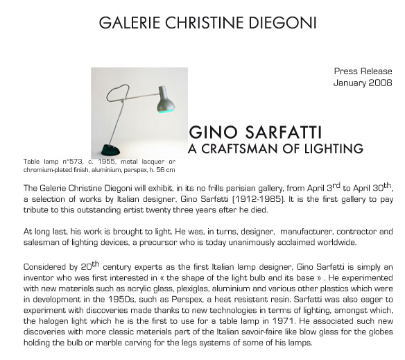 Gino Sarfatti, a Craftsman of lighting